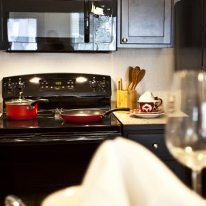 Kitchen stove in available unit