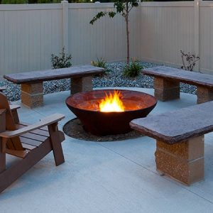Community fire pit at night